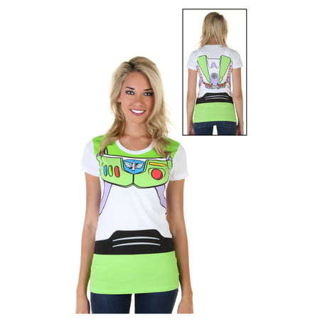 Women's Toy Story Buzz Lightyear Costume T-Shirt - Buzz Lightyear Woman Costume