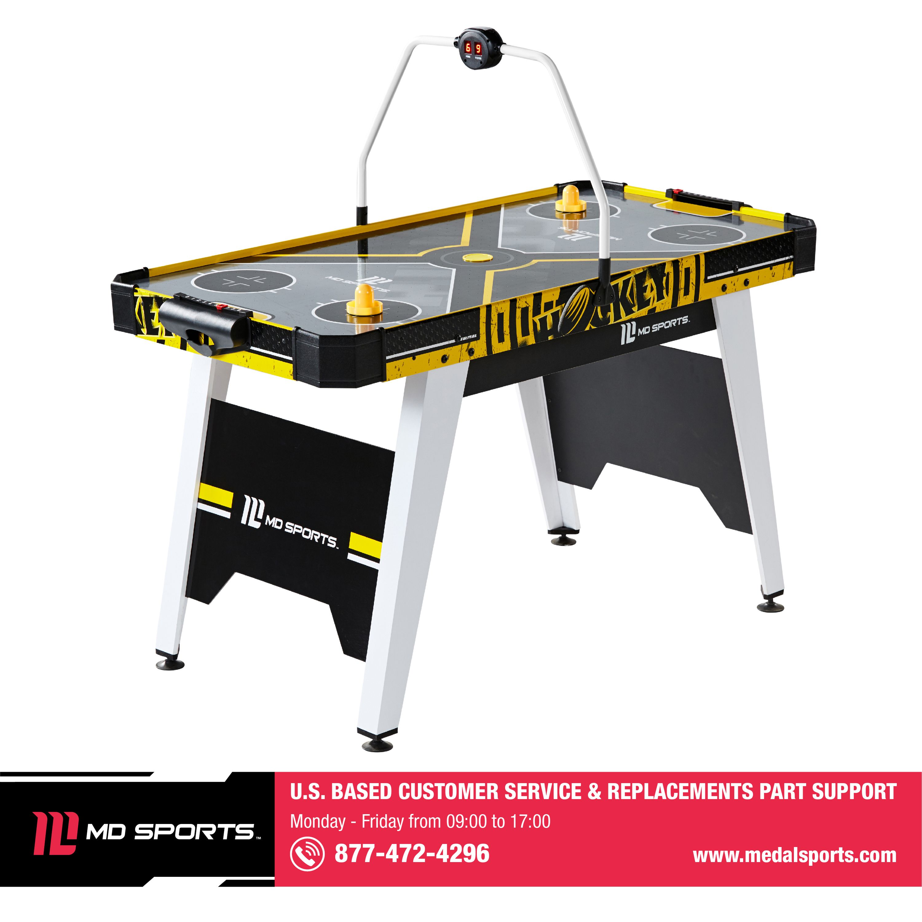 Air Hockey Table for Kids and Adults Completed Air Hockey Table Top Accessories Plug-in Powered Air Hockey Set 2 Pucks+2 Paddles+Led Score Board+Electric Motor Fan+Blowers for Game Room Compact-Size