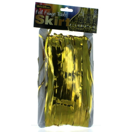 Gold Metallic Foil Fringe Table Skirt 144