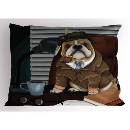English Bulldog Pillow Sham Traditional English Detective Dog with a Pipe and Hat Sherlock Holmes Image, Decorative Standard Queen Size Printed Pillowcase, 30 X 20 Inches, Multicolor, by Ambesonne
