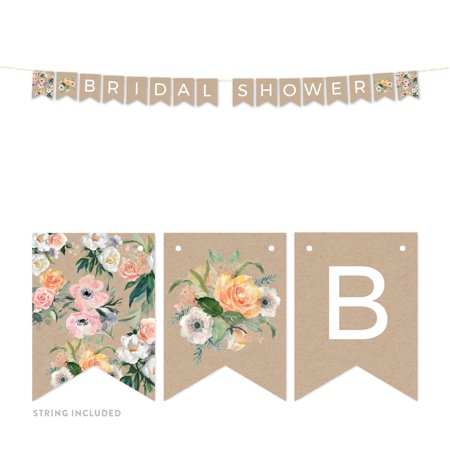 Peach Coral Kraft Brown Rustic Floral Garden Party Wedding, Hanging Pennant Party Banner with String, Bridal - Coral Bridal Shower Decorations
