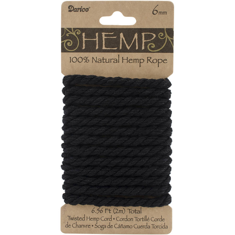 Jewlery Cord: Twisted Hemp Rope, Black, 6.5 Feet