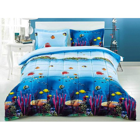 3 Piece 3D Comforter Set - 3D Ocean Fish and Corals Comforter Set Queen Size (D07) - Box Stitched, Soft, Breathable, Hypoallergenic, Fade Resistant -1pc 3D print Queen Comforter, 2pcs 3D print Shams (Ocean Comforter Set)