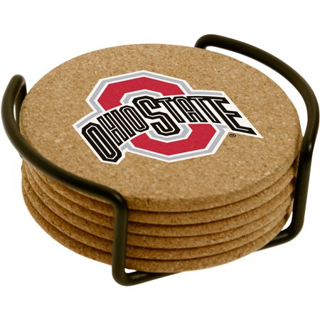 Set of Six Cork Coasters with Holder Included, Ohio State University