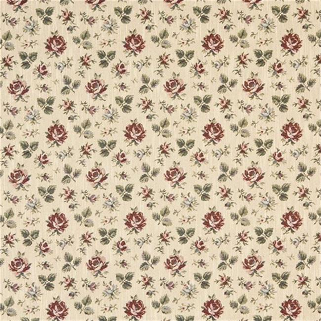 Designer Fabrics F909 54 in. Wide Gold, Burgundy And Green, Floral Tapestry Upholstery Fabric