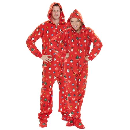 Footed Pajamas - Footed Pajamas - Holly Jolly Christmas Adult Hoodie Drop  Seat - Walmart.com a78256c43