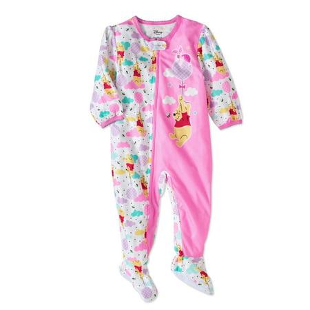 Winnie The Pooh Newborn Baby Girls Micro Fleece Footed