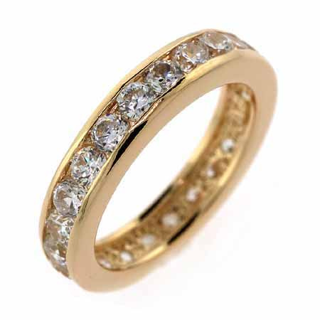 18K Gold over Sterling Silver CZ Eternity Wedding Band Ring Size 9