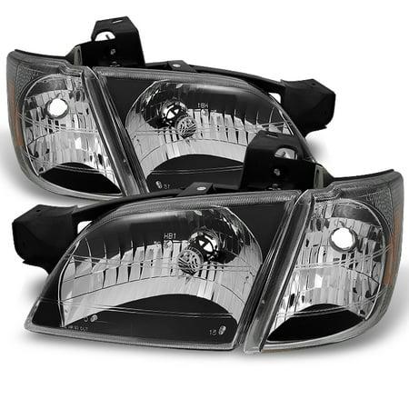 Olds Silhouette Van Headlights (Fit 97-05 Chevy Venture Silhouette Montana Black Headlights W/ Corner Lamps)