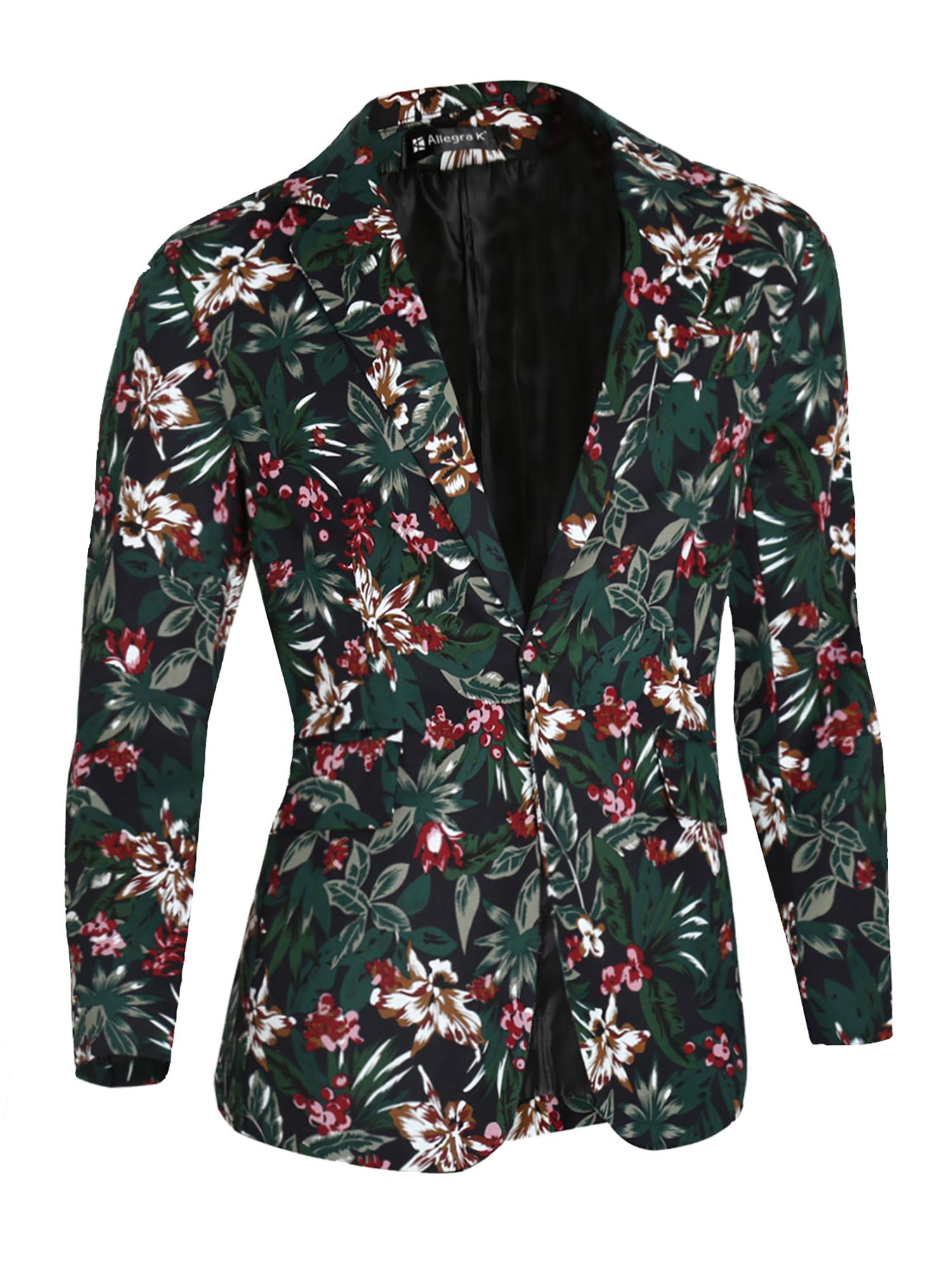 Azzuro Men's Floral Prints Notch Lapel Front Pockets Split Back Blazer Jacket (Size M / 40)