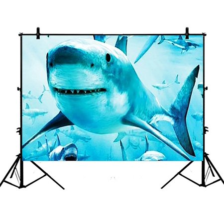 GCKG 7x5ft Sea Sharks In the Deep Ocean Polyester Photography Backdrop Studio Photo Props Background ()
