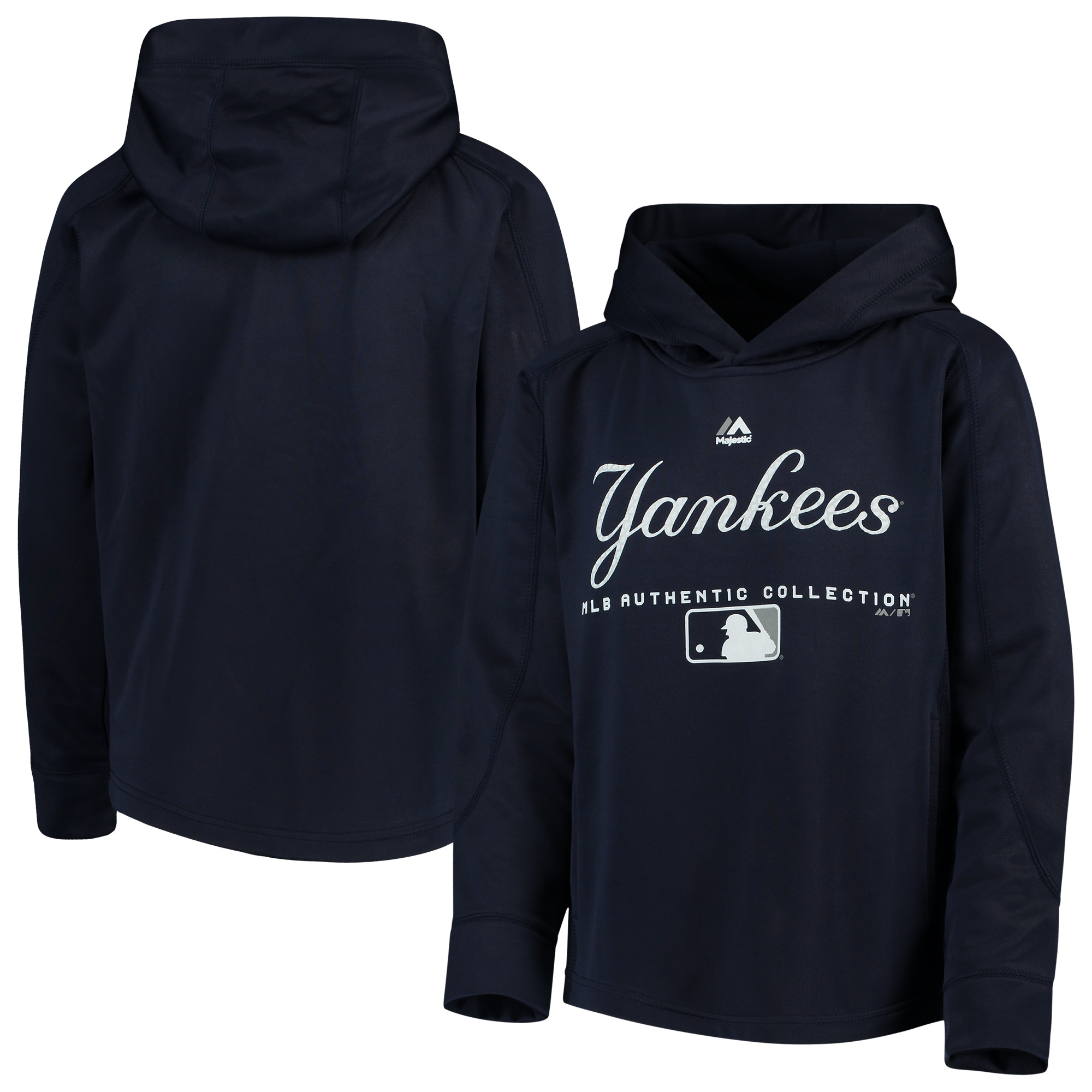 New York Yankees Majestic Youth Authentic Collection Team Drive Raglan Pullover Hoodie - Navy