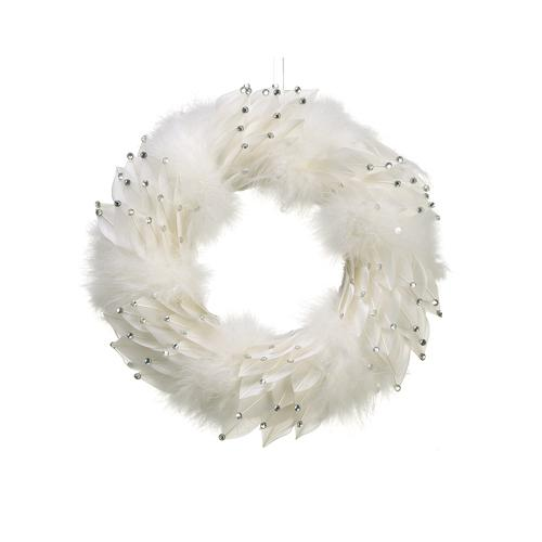 """13"""" Tell a Story Winter White Feather Artificial Christmas Wreath with Silver Rhinestones - Unlit"""