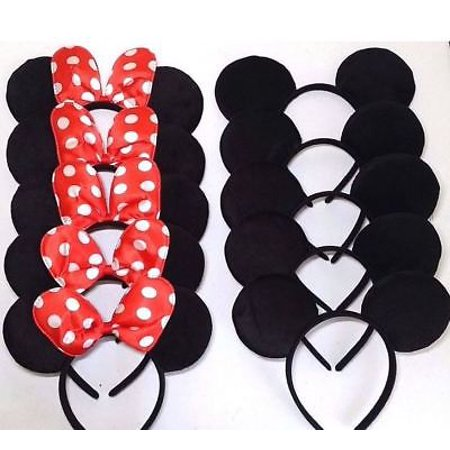 Wholesale Store Supply (LWS LA Wholesale Store  12 Mouse Ears Headbands RED Bows Party Supplies Costume Hat)
