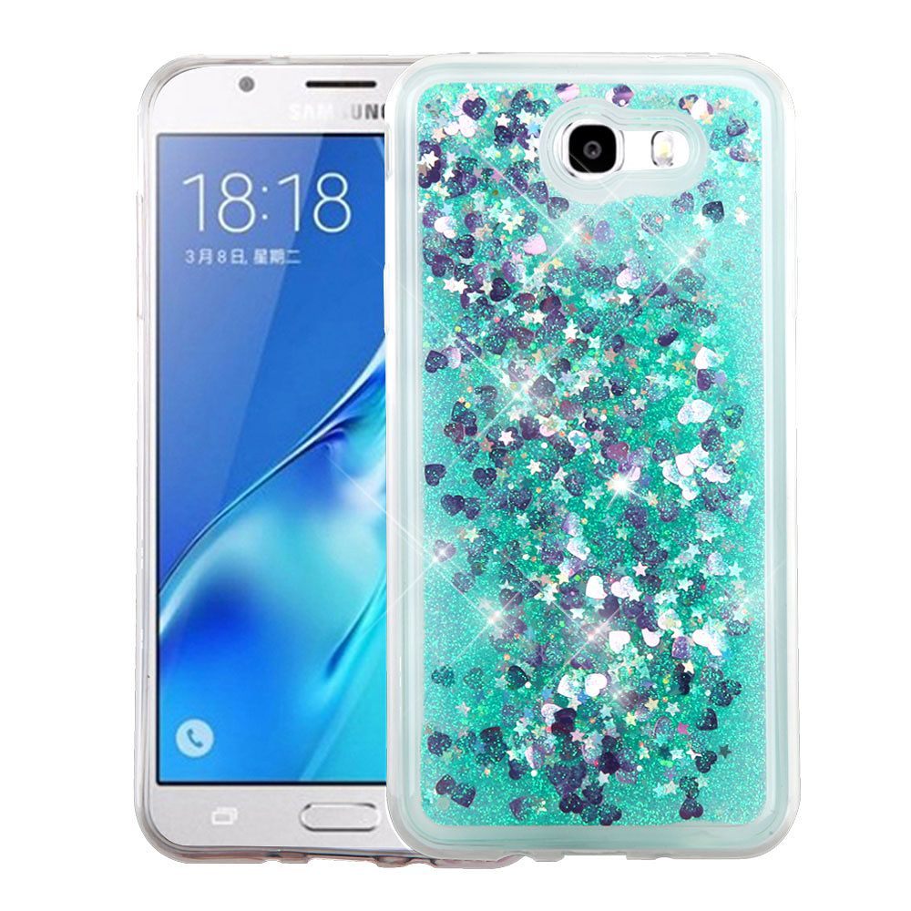 Galaxy J7 Sky Pro phone case by Insten Quicksand Glitter Hybrid Case Cover For Samsung Galaxy J7 (2017) / Sky Pro - Hearts Green (+ USB Cable)