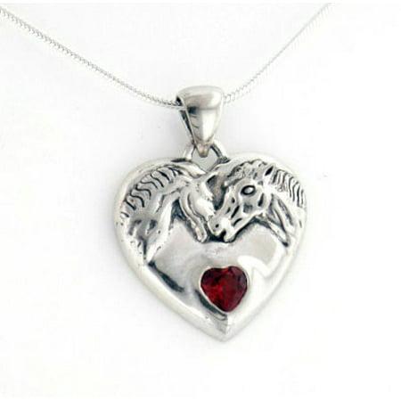 Genuine Garnet Horse Heart Sterling Silver Pendant, 16