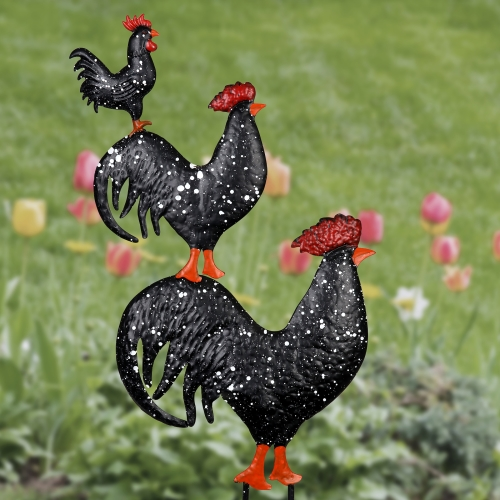 Exhart Metal Stacked Roosters Garden Stake, 16 by 29 Inches