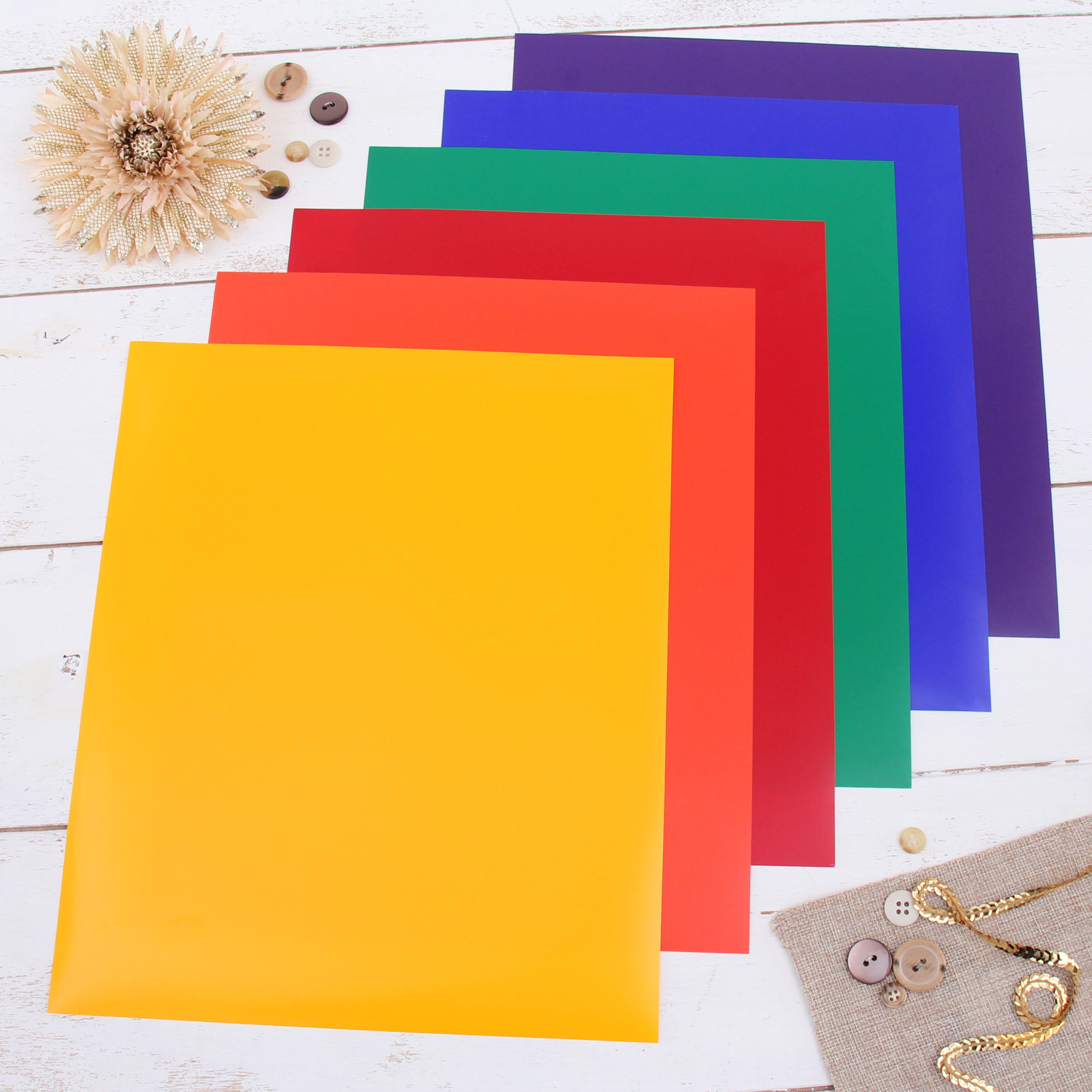 """Threadart Rainbow Colors 10"""" x 12"""" Heat Transfer Vinyl Precut Sheets   Bundle Pack Solid Colors   Includes Blue Orange Green Purple Red & Yellow Sheets   For Silhouette Cameo Cricut  HTV"""