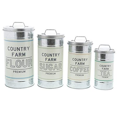 Barnyard Designs Decorative Nesting Kitchen Canisters with Lids Galvanized Metal Rustic Vintage Farmhouse Country Decor for Flour Sugar Coffee Tea Storage (Large Set of