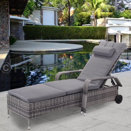 Costway Outdoor Chaise Lounge Chair Recliner Cushioned Patio Furni Adjule W Wheels