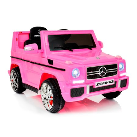 Mercedes Amg Wheel - 12V powered Mercedes AMG G65 Ride on electric car for kids for girls with Remote Control LED lights MP3 Leather Seat - Pink