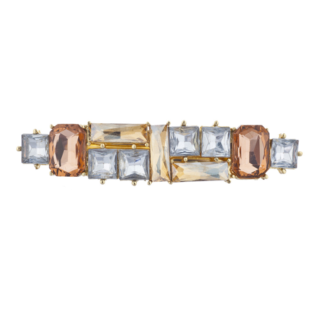 Lux Accessories GoldTone Crystal Champagne Peach Square Stone Barrette Hair Clip](Crystal Barrettes)