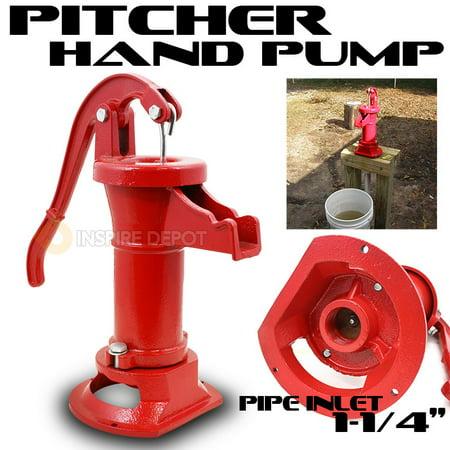 STKUSA 25ft Antique Pitcher Hand Pump Water Spout Cast Iron, Red