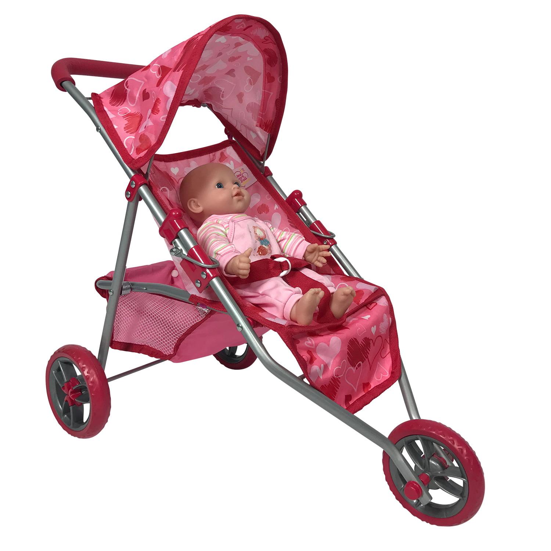 Dolls Jogging Stroller Pink Hearts Designed Jogging Stroller for Dolls by The New York Doll Collection