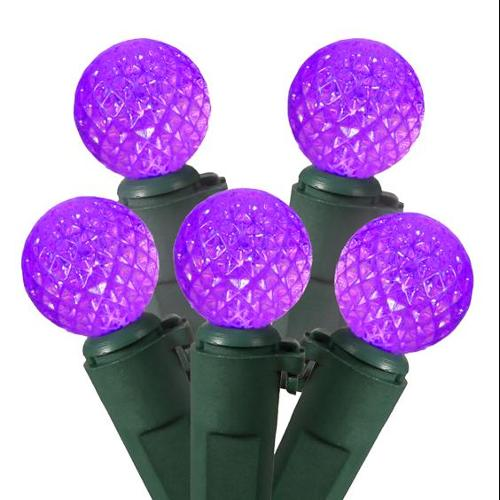Set of 50 Purple LED G12 Berry Fashion Glow Christmas Lights - Green Wire