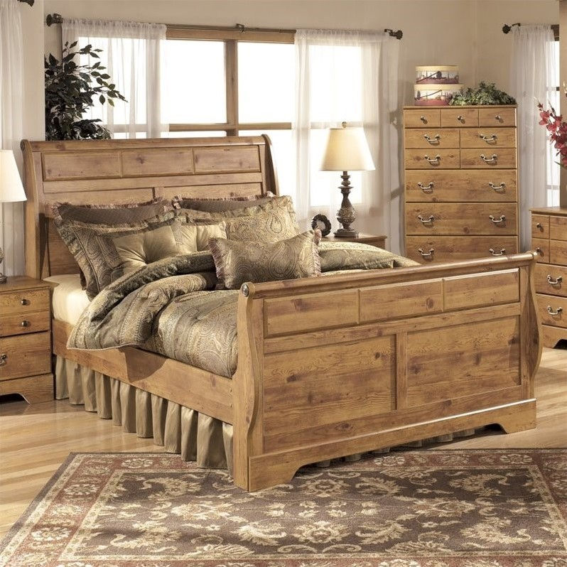 Ashley Bittersweet Wood King Sleigh Bed in Light Brown by Ashley Furniture