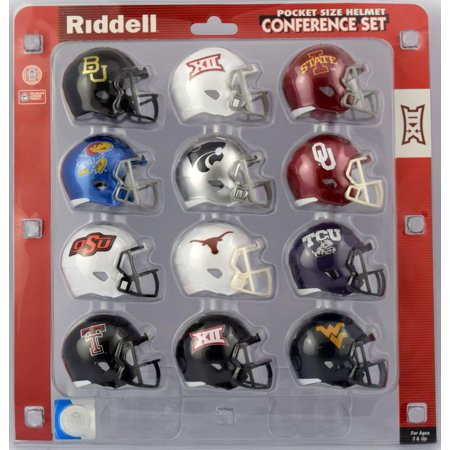 Riddell Mini Replica Throwback Helmet - Big Twelve Pocket Size Helmet Conference Set 2017, ALL CONFERENCE TEAMS INCLUDED: mini helmet sets include 2 inch replica helmets of all members of the Big 12.., By Riddell