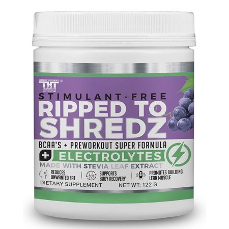 Ripped to Shredz Pre-Workout Drink for Men & Women. Quality Preworkout Drink Sweetened with Organic Stevia that improves Energy,Focus and Performance (STIM