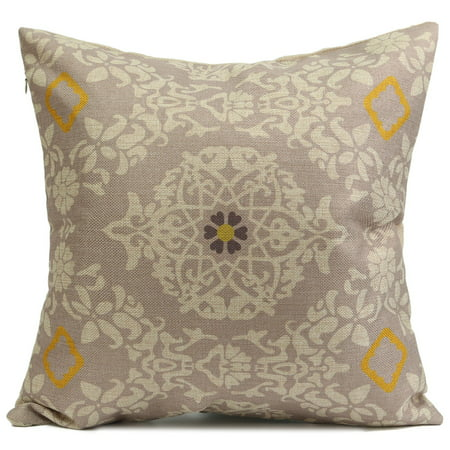 Meigar Retro Yellow Flower Decorative Throw Pillow Case Cushion Cover Clearance 18x18 inch Square Zipper Waist Pillowcase Pillow Protector Slip Cases Sham for Home Bedroom Couch