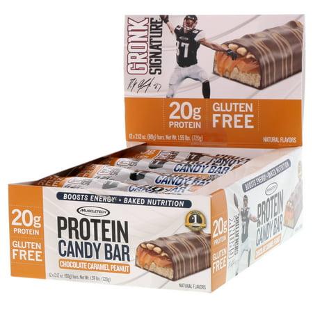 Muscletech  Protein Candy Bar  Chocolate Caramel Peanut  12 Bars  2 12 oz  60 g  Each