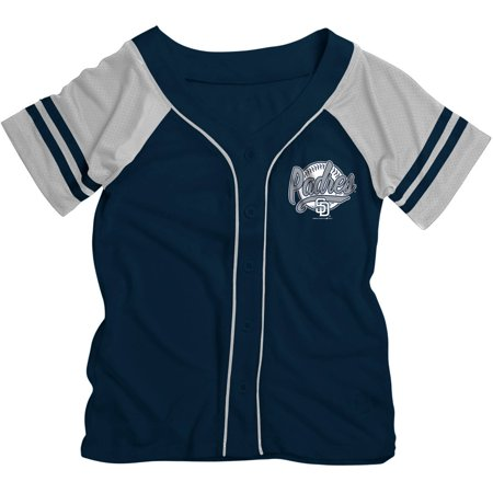 MLB San Diego Padres Girls Short Sleeve Button Down Mesh Jersey