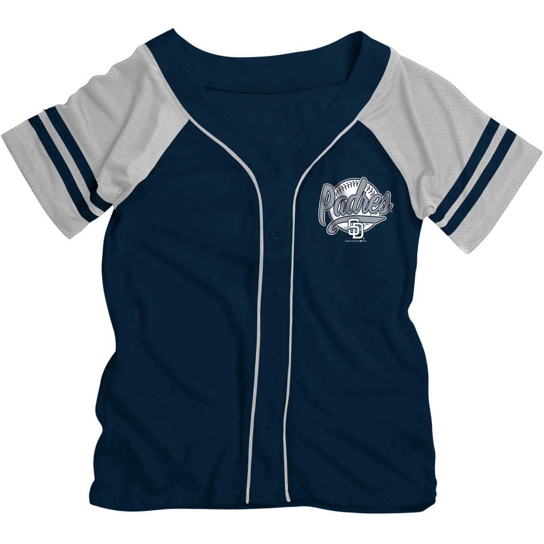 MLB San Diego Padres Girls Short Sleeve Button Down Mesh Jersey