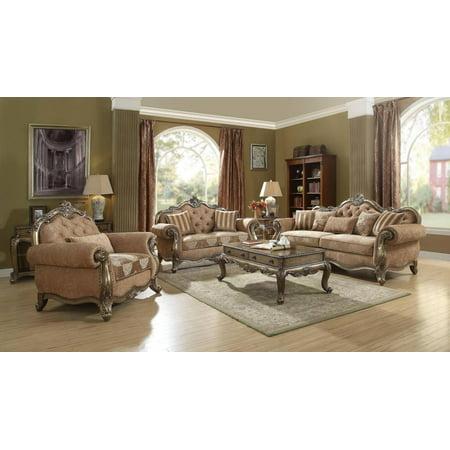Vintage Oak Finish Living Room Set 3Pcs Classic Acme Furniture 56030 Ragenardus ()