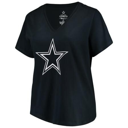 Women's Navy Dallas Cowboys Plus Size Team Confidence V-Neck T-Shirt (Dallas Cowboys Team)