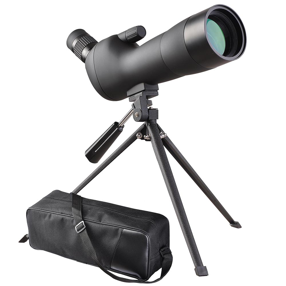 20-60x60mm Zoom Angled Spotting Scope Monocular Telescope Angled Eyepiece Waterproof with Tripod and Soft Case by Yescom