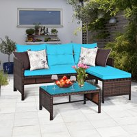 Deals on Costway 3PCS Patio Wicker Rattan Sofa Set Outdoor Sectional