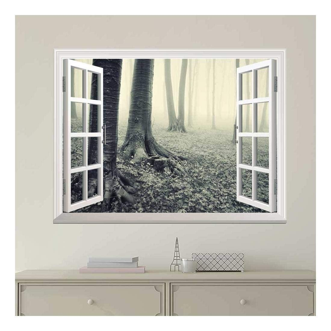 wall26 Modern White Window Looking Out Into a Gray Foggy Forest - Wall Mural, Removable Sticker, Home Decor - 24x32 inches