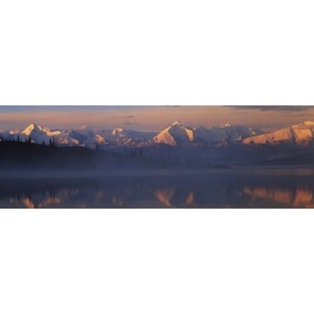 Reflection of snow covered mountain range in the lake Denali National Park Alaska USA Canvas Art - Panoramic Images (18 x (Reflection Lake Alaska)