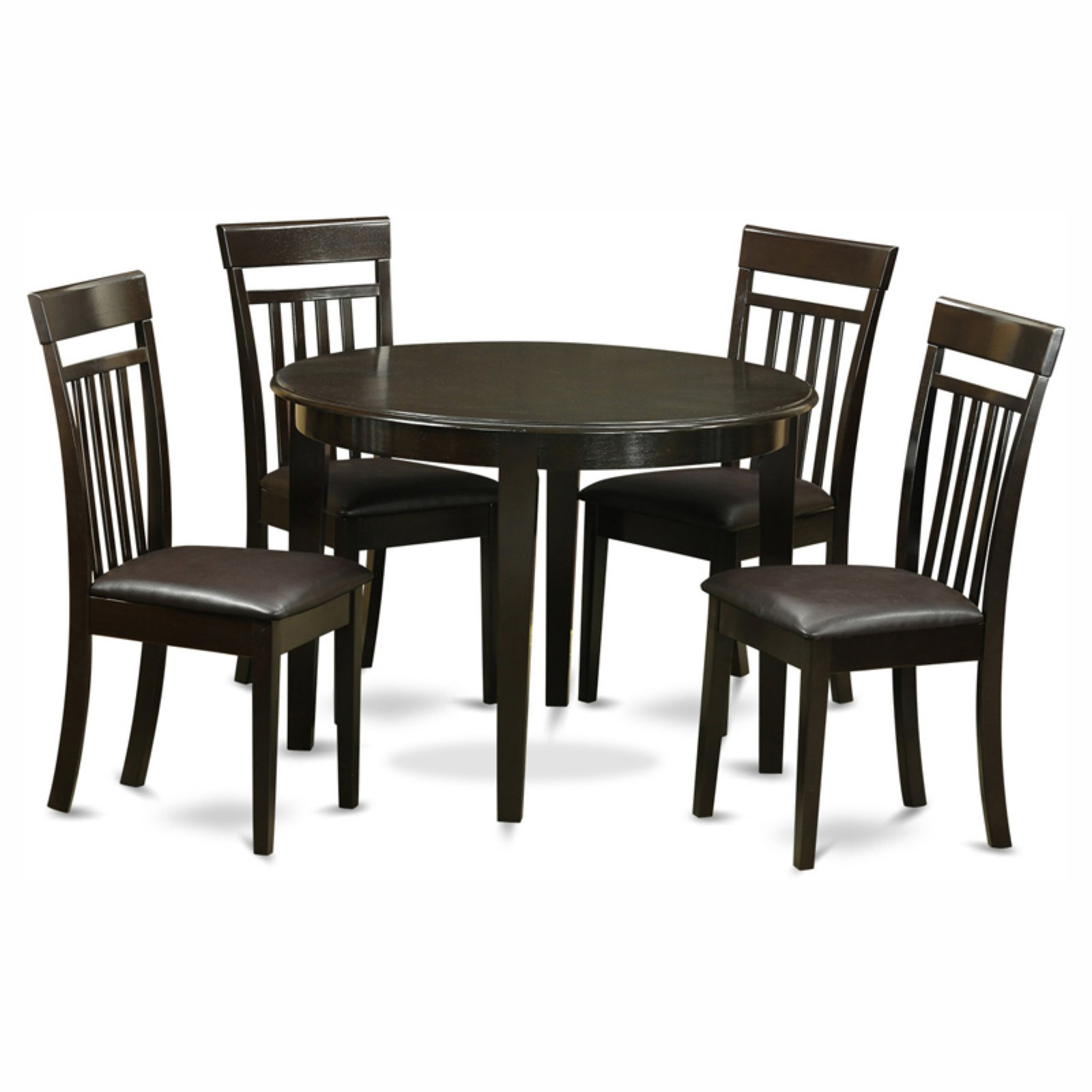 East West Furniture Boston 5 Piece Round Dining Table Set with Capris Faux Leather Seat Chairs