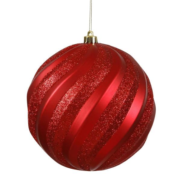 "Red Matte and Glitter Swirl Shatterproof Christmas Ball Ornament 6"" (150mm)"