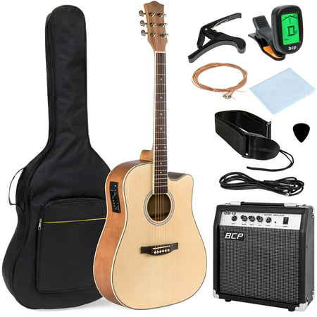 Best Choice Products 41in Full Size All-Wood Acoustic Electric Cutaway Guitar Musical Instrument Set w/ 10-Watt Amplifier, Capo, E-Tuner, Gig Bag, Strap, Picks, Extra Strings, Cloth - Natural (Cutaway Guitar)