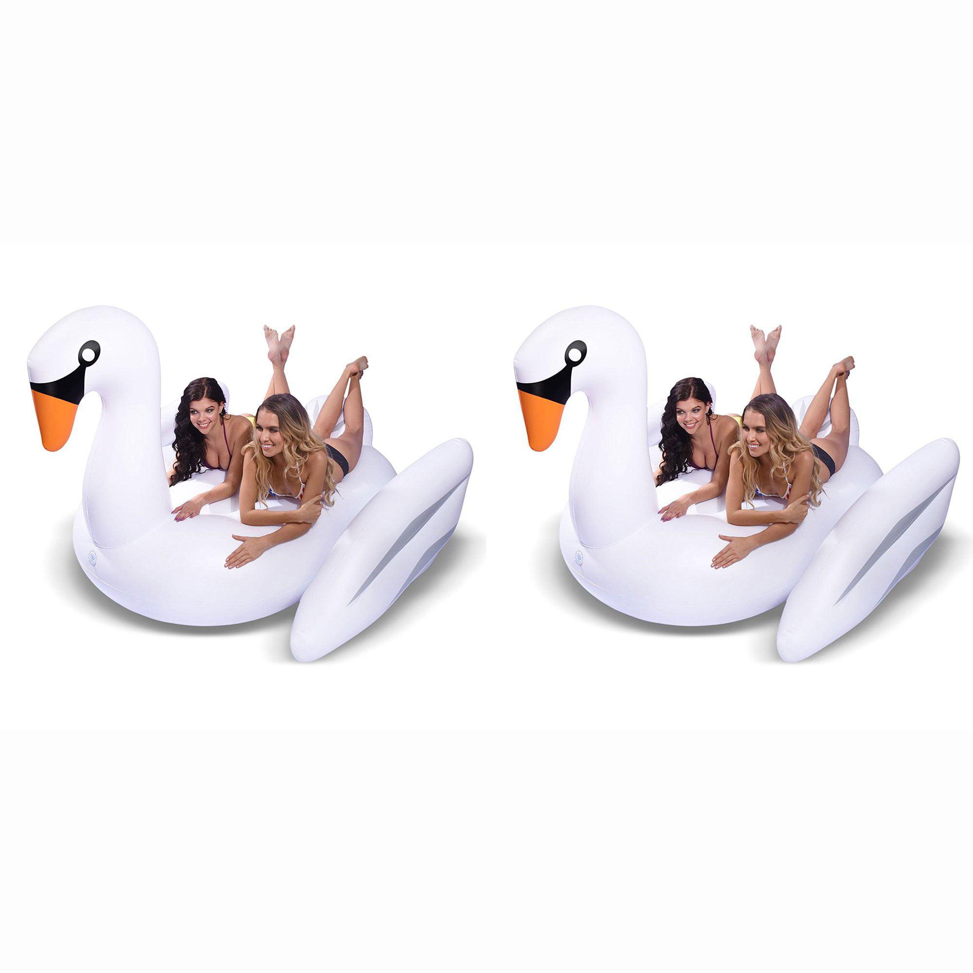 GoFloats Giant Inflatable Voyage Swan Pool Lake Water Float Raft, White (2 Pack)