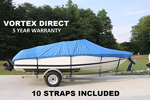 VORTEX HEAVY DUTY VHULL FISH SKI RUNABOUT COVER FOR 17 18 19' BOAT, BEST AVAILABLE COVER BLUE by Vortex