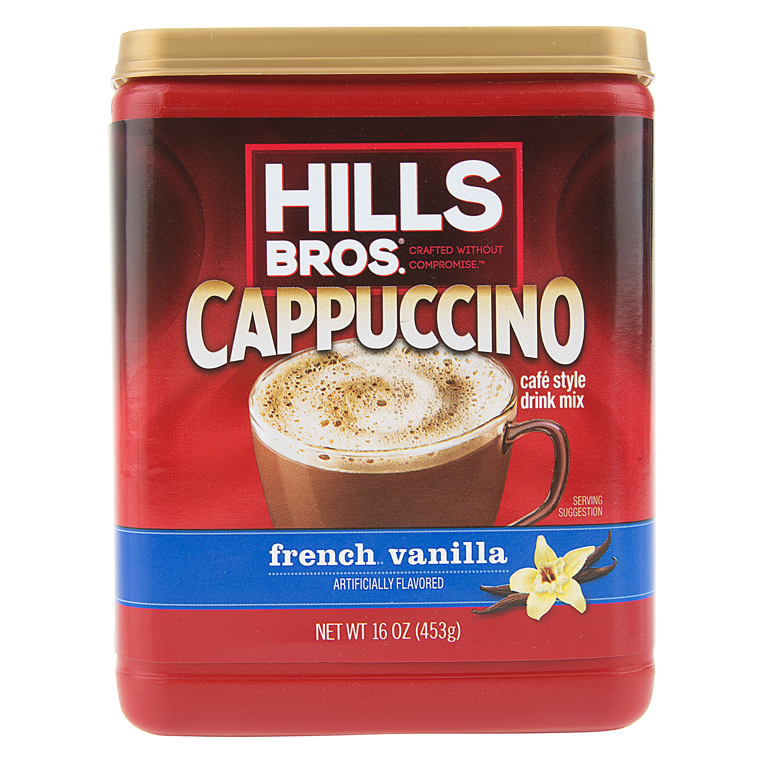 Hills Bros. French Vanilla Cappuccino Instant Coffee Powder Drink Mix, 16 Ounce Canister