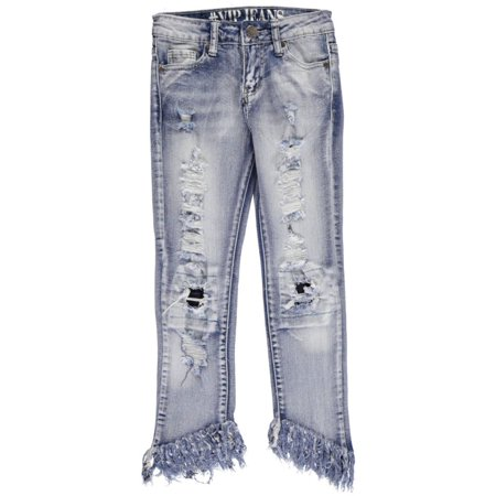 "#VIP Jeans Big Girls' ""Fray Contrast"" Jeans (Sizes 7 - 16)"
