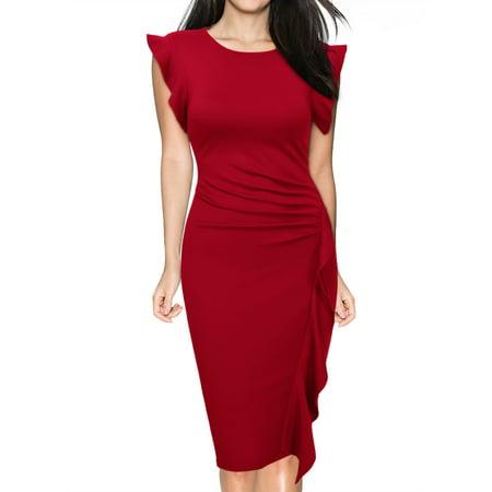 269d7c2198 Miusol - MIUSOL Women s Retro Ruffles Cap Sleeve Slim Business Pencil  Cocktail Dresses for Women (Red XXL) - Walmart.com